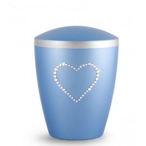 Biodegradable Cremation Ashes Urn – Infant, Child, Boy, Girl, Baby – Elegant Ice Blue & Crystal Heart