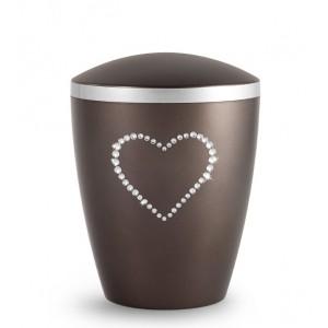 Biodegradable Cremation Ashes Urn – Infant, Child, Boy, Girl, Baby – Elegant Chocolate & Crystal Heart