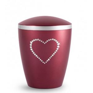 Biodegradable Cremation Ashes Urn – Infant, Child, Boy, Girl, Baby – Elegant Wine Red & Crystal Heart