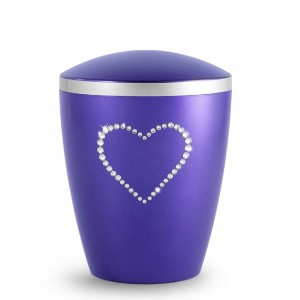 Biodegradable Cremation Ashes Urn – Infant, Child, Boy, Girl, Baby – Elegant Violet & Crystal Heart