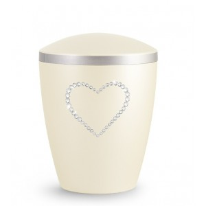 Biodegradable Cremation Ashes Urn – Infant, Child, Boy, Girl, Baby - Champagne Pearl Crystal Heart