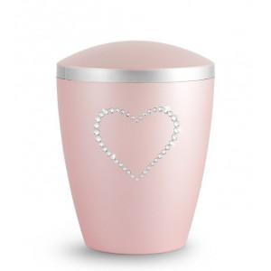 Biodegradable Cremation Ashes Urn – Infant, Child, Boy, Girl, Baby – Elegant Rosé & Crystal Heart