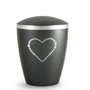 Biodegradable Cremation Ashes Urn – Infant, Child, Boy, Girl, Baby – Anthracite Grey & Crystal Heart