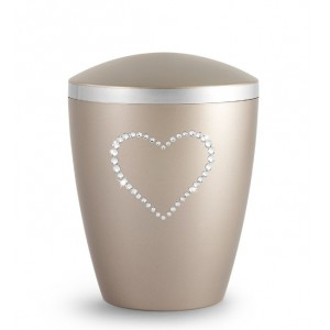 Biodegradable Cremation Ashes Urn – Infant, Child, Boy, Girl, Baby – Elegant Fumé & Crystal Heart