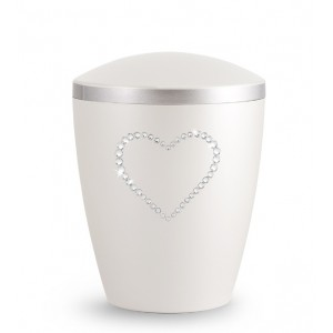 Biodegradable Cremation Ashes Urn – Infant, Child, Boy, Girl, Baby – Mother of Pearl & Crystal Heart