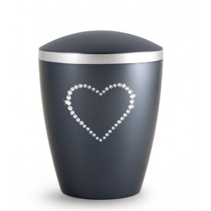 Biodegradable Cremation Ashes Urn – Infant, Child, Boy, Girl, Baby – Midnight Blue & Crystal Heart