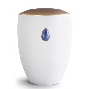 Ceramic Cremation Ashes Urn – Remember Me Gemstone Edition - Royal Blue Sodalite Teardrop