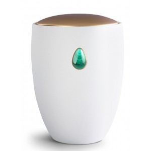 Ceramic Cremation Ashes Urn – Remember Me Gemstone Edition – Malachite Teardrop