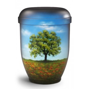 Hand Painted Biodegradable Cremation Ashes Urn – The tree that rises from the poppy field