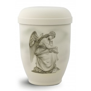 Hand Painted Biodegradable Cremation Ashes Urn – Grieving Angel