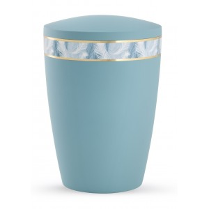 Pastel Edition Biodegradable Cremation Ashes Funeral Urn – Turquoise with Feather Border
