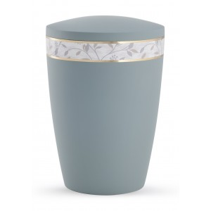 Pastel Edition Biodegradable Cremation Ashes Funeral Urn – Grey with Leaf Border