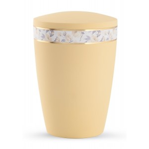 Pastel Edition Biodegradable Cremation Ashes Funeral Urn – Soft Yellow with Flower Border