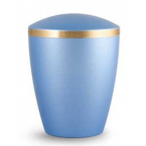 Biodegradable Urn - Pet Cremation Ashes – Mother of Pearl Ice Blue – Gold Ribbon