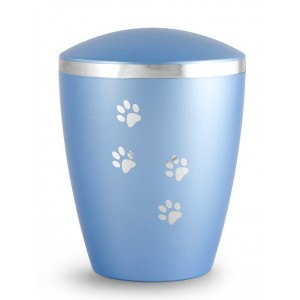 Biodegradable Urn - Pet Cremation Ashes – Mother of Pearl Ice Blue – Paw Prints & Silver Ribbon