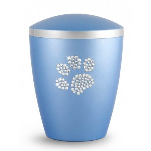 Biodegradable Urn - Pet Cremation Ashes – Mother of Pearl Ice Blue – Swarovski Crystal Paw
