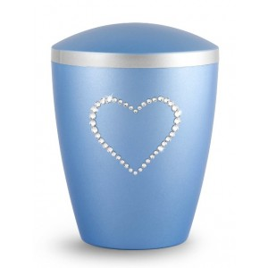 Biodegradable Urn - Pet Cremation Ashes – Mother of Pearl Ice Blue – Swarovski Crystal Heart