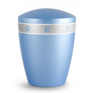 Biodegradable Urn - Pet Cremation Ashes – Mother of Pearl Ice Blue – Paw Prints