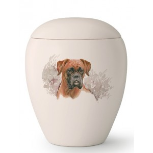Medium Ceramic Cremation Ashes Urn – Pet Dog Animal – Hand Painted Boxer Motif