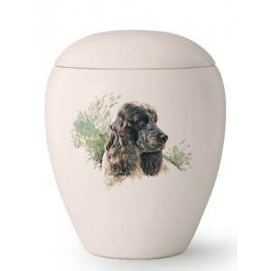 Medium Ceramic Cremation Ashes Urn – Pet Dog Animal – Hand Painted Cocker Spaniel Motif