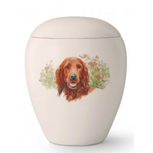 Medium Ceramic Cremation Ashes Urn – Pet Dog Animal – Hand Painted Setter Motif