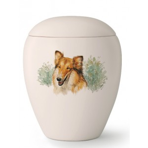 Medium Ceramic Cremation Ashes Urn – Pet Dog Animal – Hand Painted Collie Motif