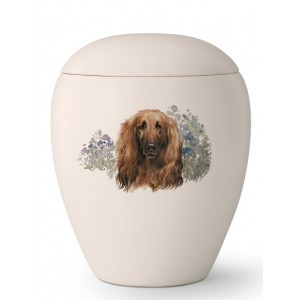 Medium Ceramic Cremation Ashes Urn – Pet Dog Animal – Hand Painted Afghan Motif