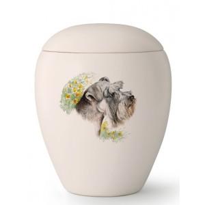 Medium Ceramic Cremation Ashes Urn – Pet Dog Animal – Hand Painted Schnauzer Motif