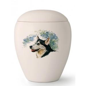 Medium Ceramic Cremation Ashes Urn – Pet Dog Animal – Hand Painted Husky Motif
