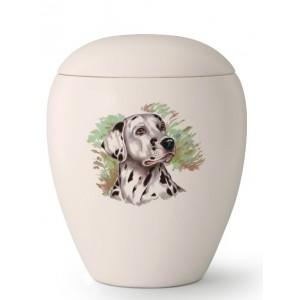 Medium Ceramic Cremation Ashes Urn – Pet Dog Animal – Hand Painted Dalmatian Motif