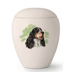 Medium Ceramic Cremation Ashes Urn – Pet Dog Animal – Hand Painted Springer Spaniel Motif
