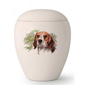 Medium Ceramic Cremation Ashes Urn – Pet Dog Animal – Hand Painted Beagle Motif