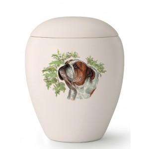 Medium Ceramic Cremation Ashes Urn – Pet Dog Animal – Hand Painted Bulldog Motif