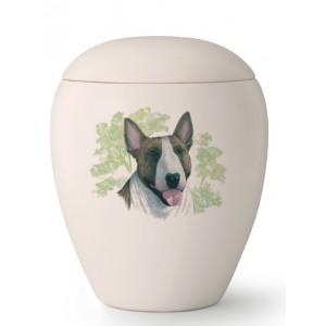 Medium Ceramic Cremation Ashes Urn – Pet Dog Animal – Hand Painted Bull Terrier Motif