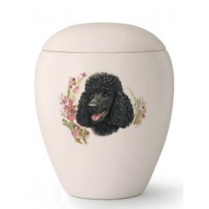 Medium Ceramic Cremation Ashes Urn – Pet Dog Animal – Hand Painted Black Poodle Motif