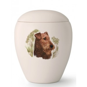 Medium Ceramic Cremation Ashes Urn – Pet Dog Animal – Hand Painted Airedale Terrier Motif