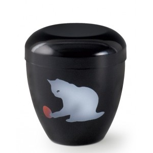Metal Cremation Ashes Urn – Playing Pet Cat - Hand Painted Motif