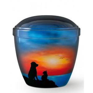 Metal Cremation Ashes Urn – Animal / Pet Dog – Faithful Friends at Sunset – Airbrush Technology