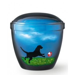 Metal Cremation Ashes Urn – Animal / Pet Dog – Fetch – Airbrush Technology