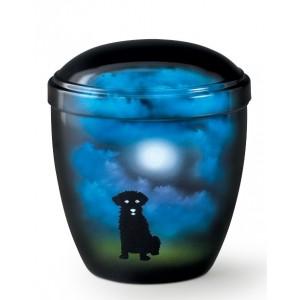Metal Cremation Ashes Urn – Animal / Pet Dog – Mystical Moonlight – Airbrush Technology