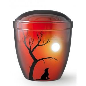 Metal Cremation Ashes Urn – Animal / Pet Dog – Shadows at Sundown – Airbrush Technology