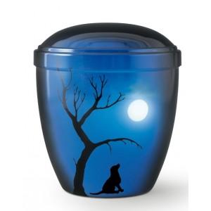 Metal Cremation Ashes Urn – Animal / Pet Dog – Full Moon Tonight – Airbrush Technology