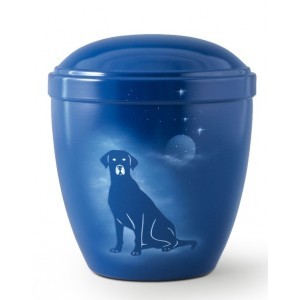 Metal Cremation Ashes Urn – Animal / Pet Dog – Shimmering Moon & Stars – Airbrush Technology