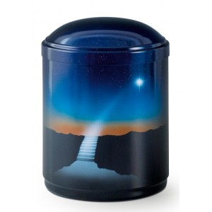 Metal Cremation Ashes Urn – Animal / Pet / Dog / Cat – Stairway to Heaven - Hand Painted Motif