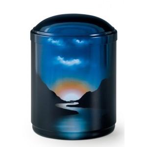 Metal Cremation Ashes Urn – Animal / Pet / Dog / Cat - Fjord Landscape - Hand Painted Motif