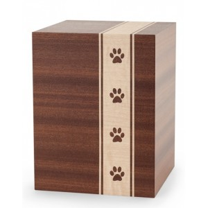 Wooden Cremation Ashes Urn – Animal / Pet Dog / Cat – Mahogany Veneer with Pawprints – 3 Sizes