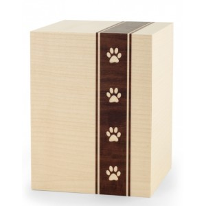 Wooden Cremation Ashes Urn – Animal / Pet Dog / Cat – Maple Veneer with Pawprints – 3 Sizes