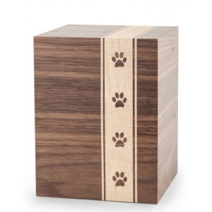 Wooden Cremation Ashes Urn – Animal / Pet Dog / Cat – Walnut Veneer with Pawprints – 3 Sizes