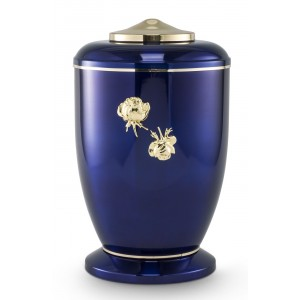 Steel Urn (Roman Rose Decoration – High Gloss Cobalt Blue)