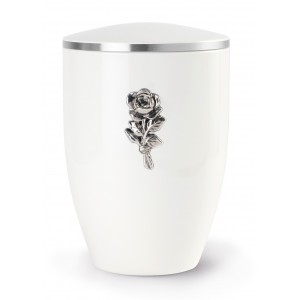 Melina Edition Steel Cremation Ashes Urn – White with Silver Rose Motif